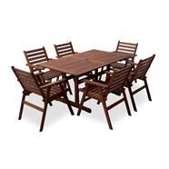 FINEXT ชุดโต๊ะสนามไม้ 6 ที่นั่ง รุ่น MONROE