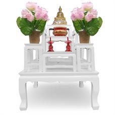 โต๊ะหมู่บูชา ไม้ทุเรียน 7 หน้า 5 นิ้ว สีขาว