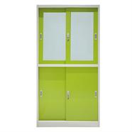 SMART OFFICE ตู้บานเลื่อน 2 ชั้น รุ่น SM005 สีเขียว