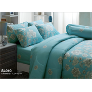 ผ้าปูที่นอน TULIP รุ่น SL-010 6 ฟุต 5 ชิ้น ลายดอกคาร์เนชั่น สีเขียว