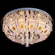 VANEZZA โคมไฟถาดคริสตัล LED 60 ซม. สีเหลือง