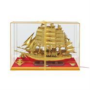 ตู้มงคล เรือใบมีไฟกระพริบ 4x20x15 นิ้ว สีทอง