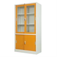 ตู้บานเลื่อนผสม 3 ฟุต OEM รุ่น LKAS-301 สีส้มขาว