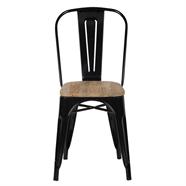 HOFF เก้าอี้เหล็กพนักพิงเบาะไม้ รุ่น YD-H440B-W สีดำ
