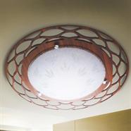 FINEXT โคมไฟติดเพดาน ขอบไม้ฉลุ E27 ลายตาข่าย 50 ซม.