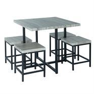 ชุดโต๊ะพร้อมสตูลเหลี่ยม HOFF รุ่น HF-D9179 สีโซโนม่าโอ๊ค