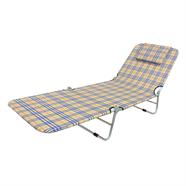 เก้าอี้ ปรับระดับได้ ลายสก็อต 3 พับ สีน้ำตาล
