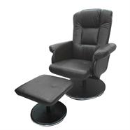 เก้าอี้พักผ่อนหนังพร้อมสตูล OEM รุ่น Twente สีดำ