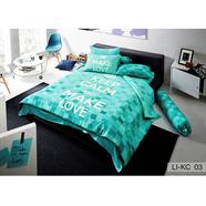 ผ้าปูที่นอน LOTUS รุ่น LI-KC 03 6 ฟุต 5 ชิ้น ลายเหลี่ยม สีเขียว