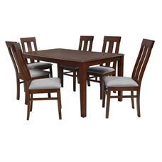 FINEXT ชุดโต๊ะอาหารไม้ 6 ที่นั่ง รุ่น 7079T/5504AC สีสัก