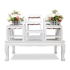 โต๊ะหมู่บูชา ไม้ทุเรียน 9 หน้า 5 นิ้ว สีขาว