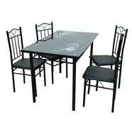 HOFF ชุดโต๊ะอาหารกระจก 4 ที่นั่ง 120 ซม. รุ่น 918 สีดำ