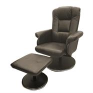 เก้าอี้พักผ่อนหนังพร้อมสตูล OEM รุ่น Twente สีน้ำตาล